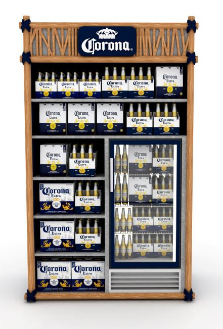 PLV Meuble Cross Merch Réfrigéré - Iconomedia Saison 2 - ABINBEV - CORONA