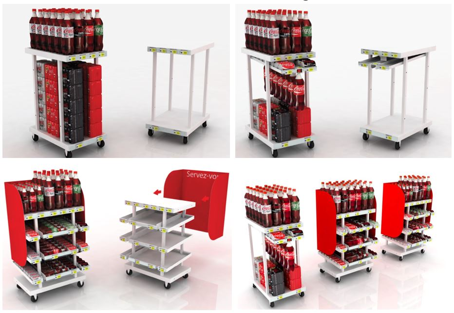 PLV Meuble Cross Merch - Rack Evolutif - Iconomedia Saison 2 - CCEP