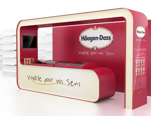 PLV Stand Meuble Cross Merch – Iconomedia Saison 2 – HAAGEN-DAZS