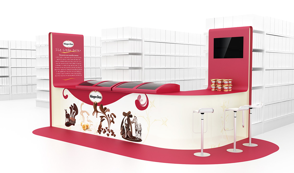 PLV Stand Meuble Cross Merch - Iconomedia Saison 2 - HAAGEN-DAZS